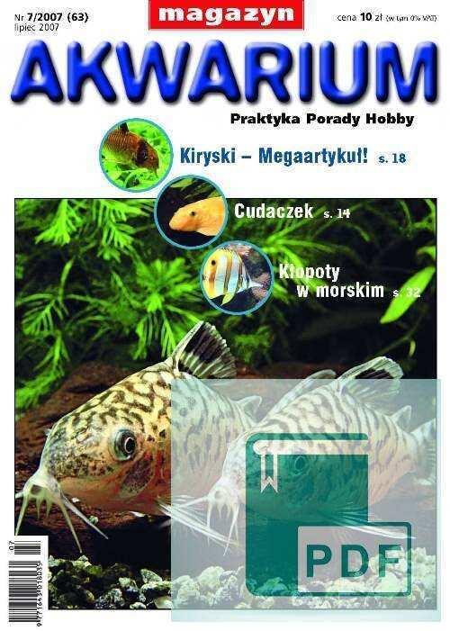 Okładka Magazyn Akwarium czasopismo 7/2007