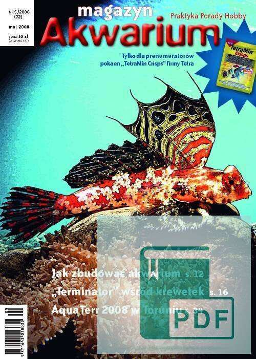 Okładka Magazyn Akwarium czasopismo 5/2008