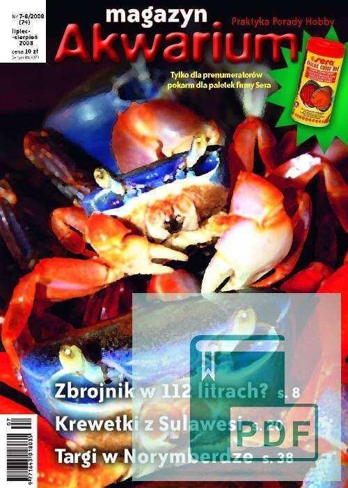 Okładka Magazyn Akwarium czasopismo 7-8/2008