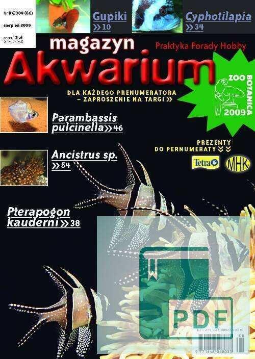 Okładka Magazyn Akwarium czasopismo 8/2009