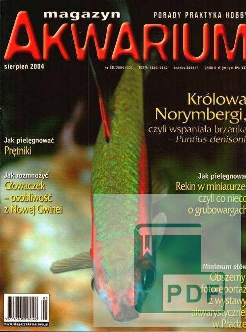 Okładka Magazyn Akwarium czasopismo 8/2004