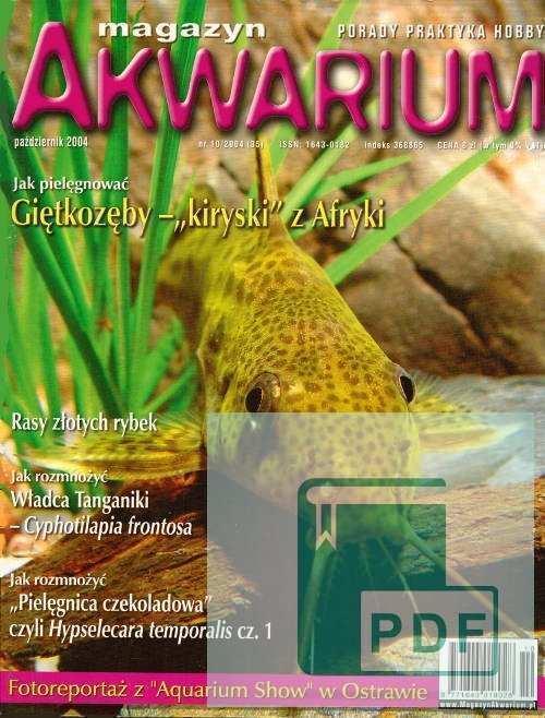 Okładka Magazyn Akwarium czasopismo 10/2004